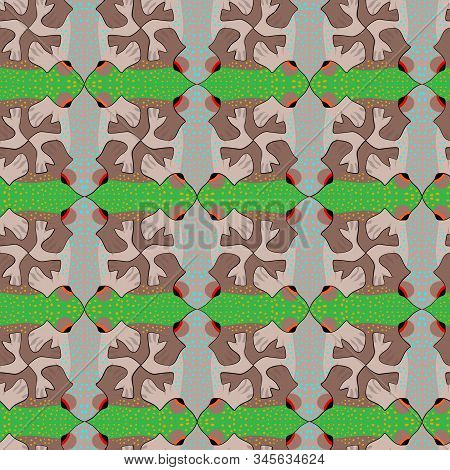 Abstract Frog Seamless Pattern, Tessellation. Vector Illustration Eps 10