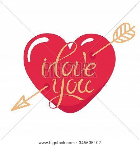 Tattoo I Love You. Heart Pierced By Gold Arrow. Heart Tattoo. Holiday Illustration For Valentines Da