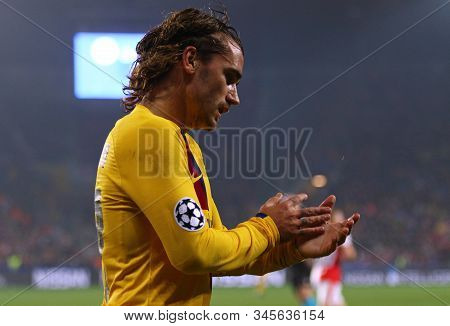 Prague, Czechia - October 23, 2019: Antoine Griezmann Of Barcelona Reacts During The Uefa Champions