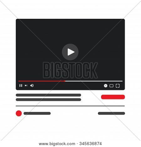 Desktop Video Player. Pc Social Media Interface. Play Video Online Mock Up Button. Tube Window With