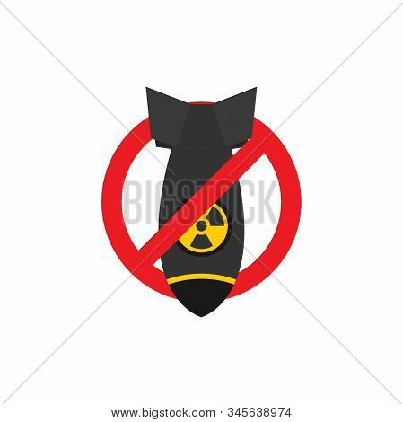 Stop War Nuclear Bomb Vector Illustration, Nuclear Bomb And Stop Sign On White Background Flat Desig