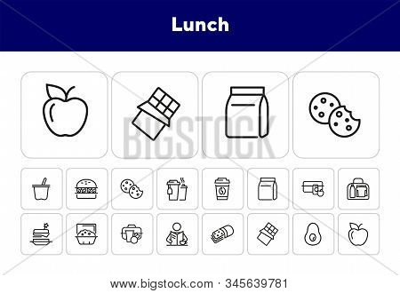 Lunch Line Icon Set. Vegan Burger, Drink, Fruit, Bag, Pack. Food Concept. Can Be Used For Topics Lik
