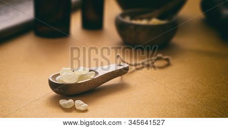 Chios Mastic Tears On Orange Color Background