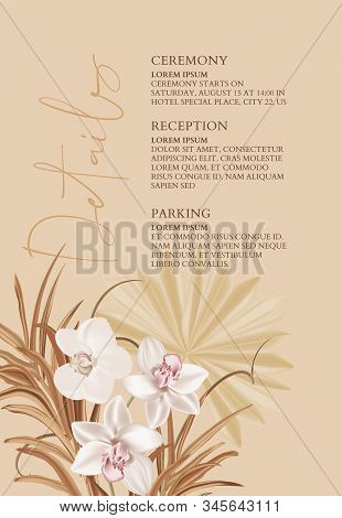 Pampas Realistic Watercolor Orchid Flowers And Dried Palm Leaves, Bohemian Wedding Card. Tender Soft