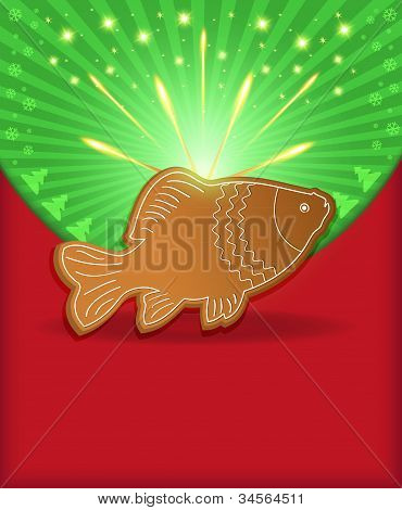 Christmas congratulations fish carp gingerbread template blank poster
