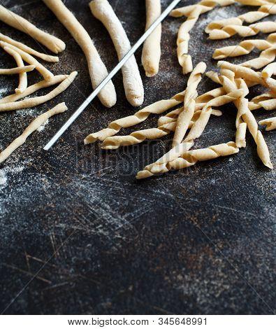 Making Whole Wheat Flour Pasta Fusilli Al Ferro Close Up