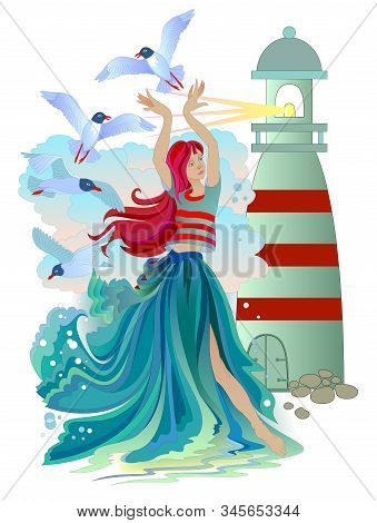 Illustration Of Marine Fairy With Seagulls, Waves And A Lighthouse. Beautiful Sea Princess. Poster F