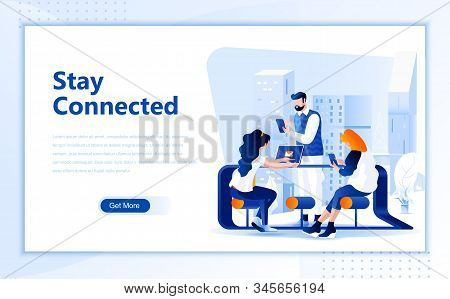 Social Network Flat Web Page Design Template Of Homepage Or Header Images Decorated People For Websi
