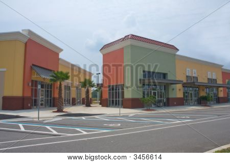 Bold Pastel Colored Strip Mall
