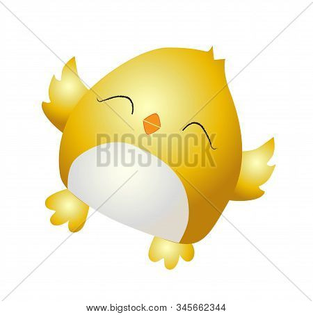 Little Yellow Chicken. Cute Bird On A White Background. Spring And Easter Design Element. Hatching F