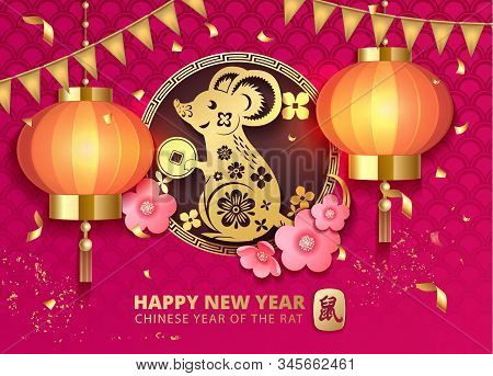 Chinese New Year 2020 Year Of The Rat. Paper Rat Silhouette, Flowers, Lantern Asian Elements. Zodiac