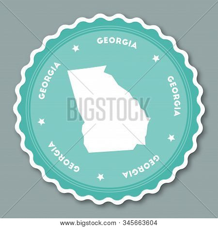 Georgia Sticker Flat Design. Round Flat Style Badges Of Trendy Colors With The State Map And Name. U