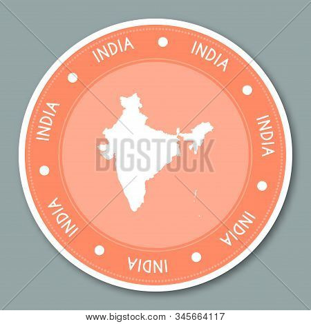 India Label Flat Sticker Design. Patriotic Country Map Round Lable. Country Sticker Vector Illustrat