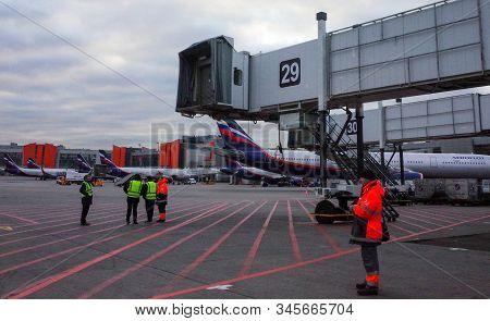 October 29 Moscow, Russia Passenger Boarding Bridge At Sheremetyevo International Airport.