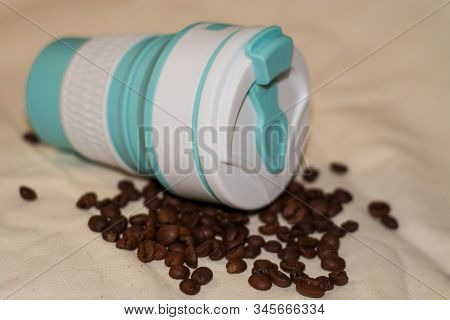 Blue Reusable Cup Transformer For Coffee And Drinks Take Away Made Of Food Silicone. Repeated Proces