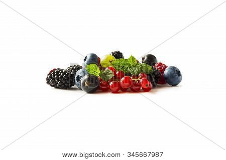 Mix Berries Isolated On A White. Ripe Blueberries, Blackberries, Raspberries, Gooseberries, Red And