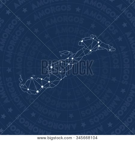 Amorgos Network Style Island Map. Flawless Space Style, Modern Design For Infographics Or Presentati