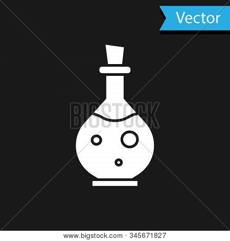 White Glass Bottle With Magic Elixir Icon Isolated On Black Background. Computer Game Asset. Vector