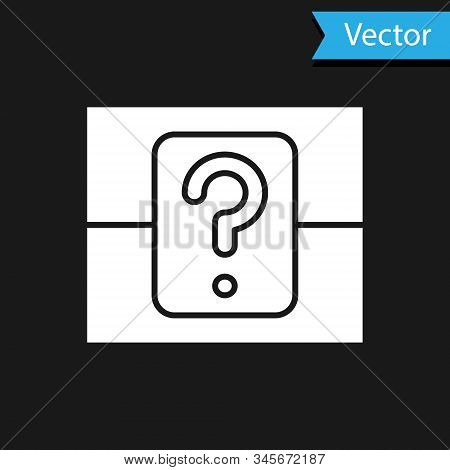 White Mystery Box Or Random Loot Box For Games Icon Isolated On Black Background. Question Box. Vect