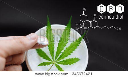 Cbd Lotion Gel Little Jars With Hemp Leaves On A Black Background. Cream Medicinal Cannabis Hemp And