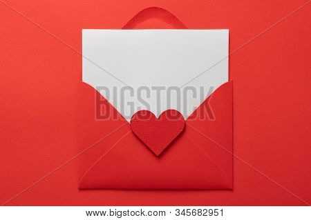 Lovely Letter Background. Valentines Day Background. Love Hearts, Candys, Flat Lay, Top View, Copy S