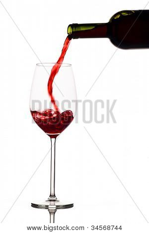 in a glass of red wine is lively empties. red wine in the wine glass