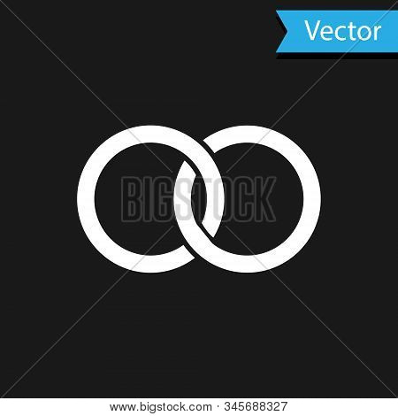 White Wedding Rings Icon Isolated On Black Background. Bride And Groom Jewelery Sign. Marriage Icon.