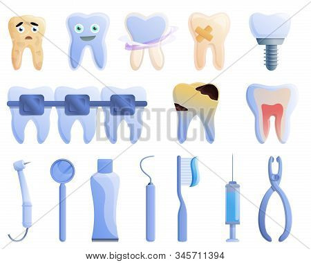 Tooth Restoration Icons Set. Cartoon Set Of Tooth Restoration Vector Icons For Web Design