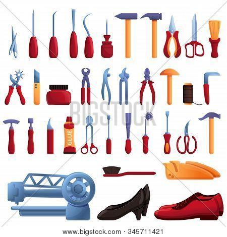 Shoe repair icons set. Cartoon set of Shoe repair vector icons for web design poster