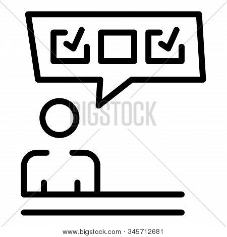 Man Vote Poll Icon. Outline Man Vote Poll Vector Icon For Web Design Isolated On White Background