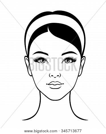 Beautiful Female Face Of An Asian Girl. Portrait After Cosmetic Procedures. Illustration For Medical
