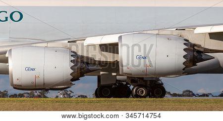 Melbourne, Australia - June 23, 2015: General Electric Genx Large Jet Engines On Boeing 747-8 Cargo