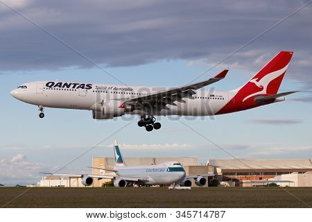 Melbourne, Australia - June 23, 2015: Airbus A330 Large Twin Engine Airliner Operated By Qantas On A