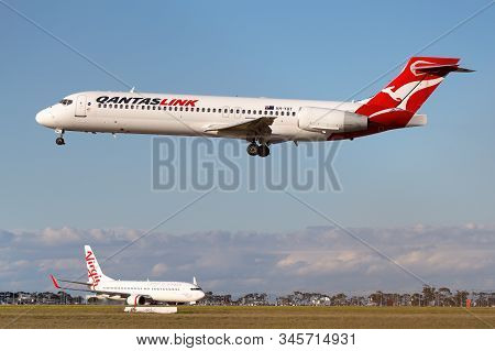 Melbourne, Australia - June 23, 2015: Boeing 717 Regional Airliner Operated By Qantaslink On Approac