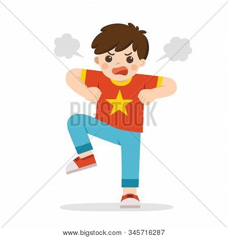 Angry Expression. The Boy Is Expressing Anger. Angry Child Standing In A Pose Frowning, Screaming, G