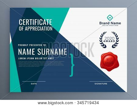 Modern Certificate Of Appreciation Template Design Illustration