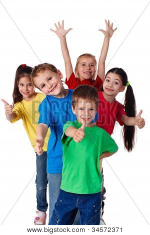 Group of happy children with hands up and thumbs up sign, isolated on white poster