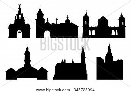 Set Illustration Of A Churches Silhouettes Isolated On White Background. Medieval Church Palaces, Te