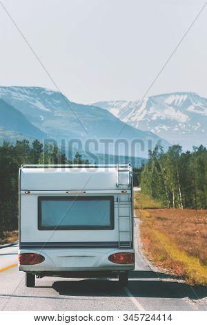 Caravan Rv Trailer Camper Road Trip Travel On Wheels Vacations Van Life Weekend Driving In Norway Mo