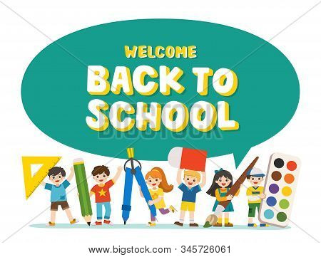 Welcome Back To School. Happy Children With Elements Of School.  Educational Elements Children. Temp