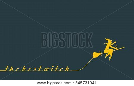 Illustration Of Flying Young Witch Icon. Witch Silhouette On A Broomstick. Lamp In Hand. The Best Wi