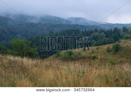 Foggy Morning In Mountains, Layers Landscape. Rain In Mountain Forest, Summer Landscape. Evaporation