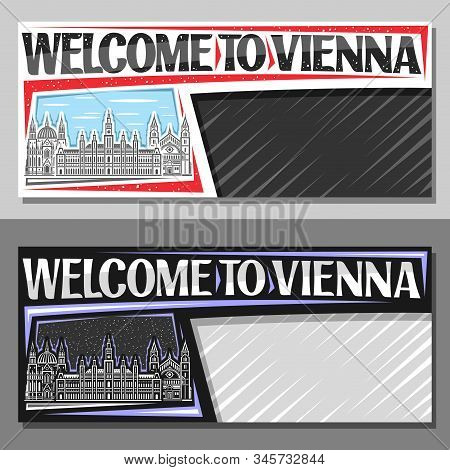 Vector Layouts For Vienna With Copy Space, Decorative Coupon With Draw Illustration Of Famous Vienna