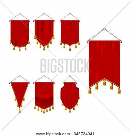Set Of Red Pennant With Golden Fringe. 3d Realistic Textile Flag, Heraldic Blank Pennant. Award Adve
