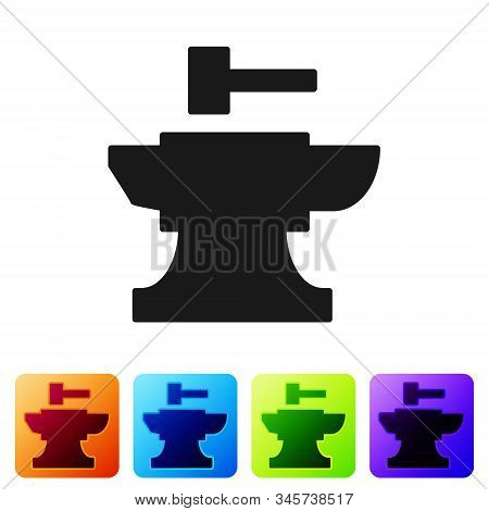 Black Anvil For Blacksmithing And Hammer Icon Isolated On White Background. Metal Forging. Forge Too