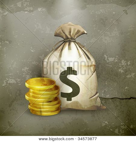 Moneybag, old-style vector