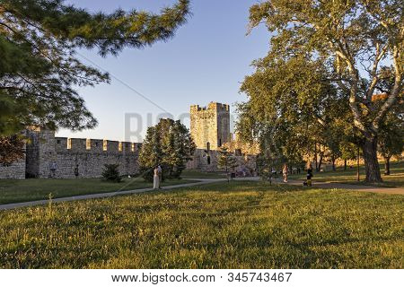 Belgrade, Serbia - August 12, 2019: Panoramic Sunset View Of Belgrade Fortress And Kalemegdan Park I