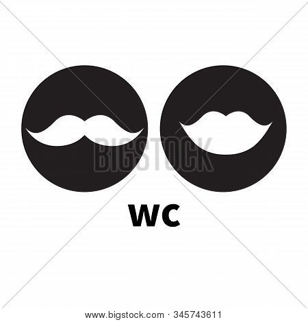 Hipster Icons For Wc, Toilet, Restroom, Water Closet. Lips And Moustache, Vector Illustration