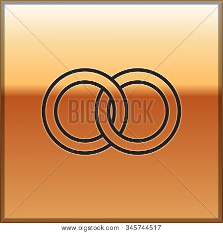 Black Line Wedding Rings Icon Isolated On Gold Background. Bride And Groom Jewelery Sign. Marriage I