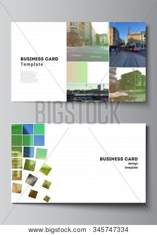 Vector Layout Of Two Creative Business Cards Design Templates, Horizontal Template Vector Design. Ab